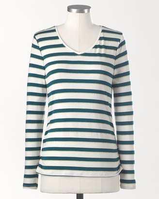 Coldwater Creek Stripe ruched v-neck