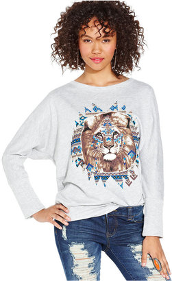 Planet Gold Juniors Top, Three-Quarter Sleeve Graphic Sweatshirt