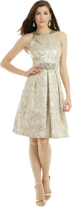 Carmen Marc Valvo Metallic Elderflower Dress