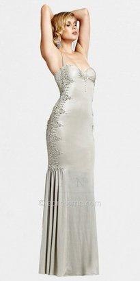 Mignon Champagne Halter Low Back Evening Dresses
