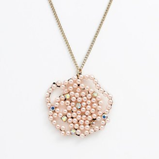 Candies Candie's ® gold tone simulated pearl & simulated crystal flower long pendant