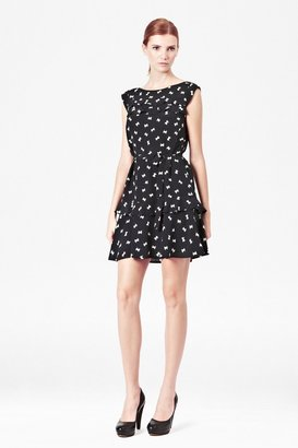 French Connection Snow Bow Silk Dress