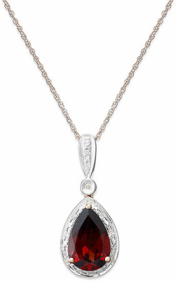 Macy's Garnet (3 ct. t.w.) and Diamond Accent Pear Pendant Necklace in 14k Rose Gold