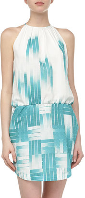 Ali Ro Sleeveless Ombre Grid Chiffon Dress, Celeste Multi
