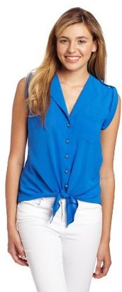 Amy Byer A. Byer Juniors Fold Back Collar Tie Front Top