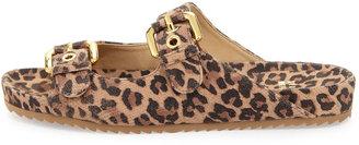 Stuart Weitzman Freely Leopard-Print Buckled Sandal