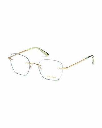 TOM FORD Shiny Metal Wood Effect Eyeglasses $365 thestylecure.com