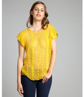 Zoa sunflower crinkle silk chiffon embroidered pocketed blouse