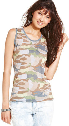 Planet Gold Juniors Top, Sleeveless Camouflage-Print Muscle Tank
