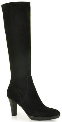 Aquatalia by Marvin K Rhumba - Black Stretch Suede Tall Boots in Black