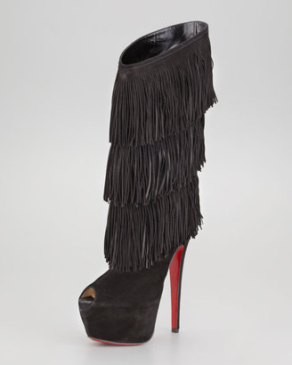 Christian Louboutin Highness Tina Fringe Red Sole Boot, Black
