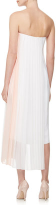 ADAM by Adam Lippes Strapless Pleated-Panel Dress, White/Pink
