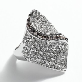 JLO by Jennifer Lopez silver tone simulated crystal twist ring