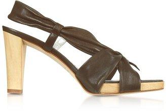 Alberto Gozzi Dark Brown Leather Straps Platform Sandal Shoes