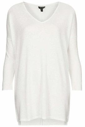 Topshop Long sleeve slubby top. 78% polyester, 17% viscose, 5% cotton. machine washable.
