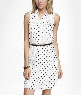Express Polka Dot Sleeveless Zip Pocket Shirt Dress