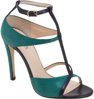 Giorgio Armani Two-Tone Asymmetric T-Strap Sandal