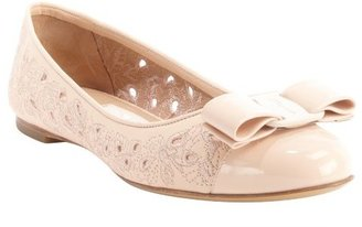 Salvatore Ferragamo petal pink leather 'Varina' perforated bow tie detail ballet flats
