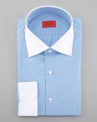 Isaia Contrast-Collar Dress Shirt, Blue