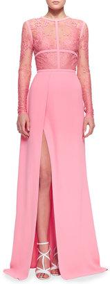 Elie Saab Lace-Top Slit Long-Sleeve Gown