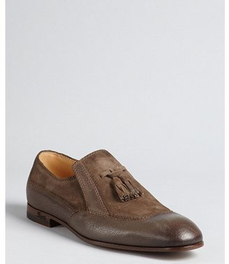 Gucci mud brown leather tassel detail loafers