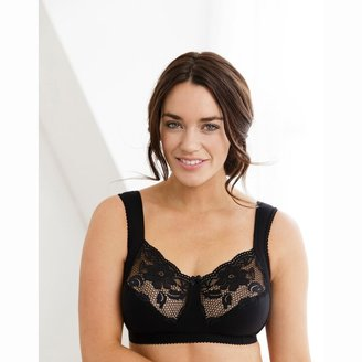 Miss Mary Of Sweden Lovely Lace Cotton Mix Non-Underwired Bra with Wide Straps