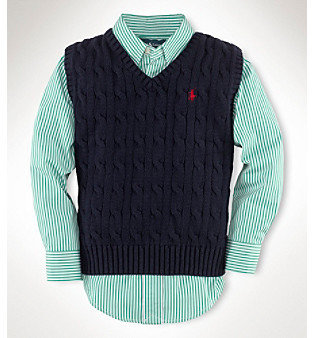 Ralph Lauren Boys' 2T-7 Cotton Cable Sweater Vest