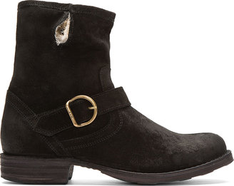 Fiorentini+Baker Black Suede Fur-Lined Eternity Eli Boots