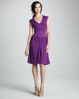 Catherine Malandrino Mixed-Knit Pointelle A-Line Dress