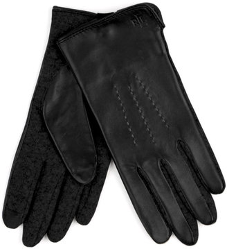 Lauren Ralph Lauren Cut & Sew Leather Back Gloves
