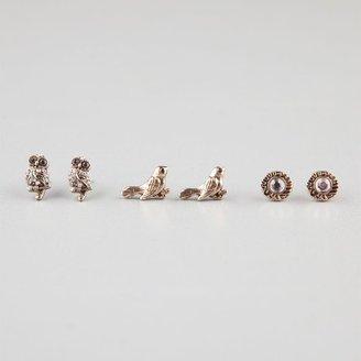 Full Tilt 3 Pairs Owl/Bird/Stone Earrings