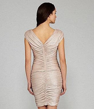 Maggy London Off-the-Shoulder Metallic Dress