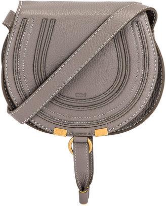 Chloé Small Marcie Grained Calfskin Saddle Bag in Cashmere Grey | FWRD