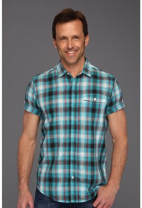 Calvin Klein Jeans Terrene Plaid S/S Shirt (Bright Teal) - Apparel