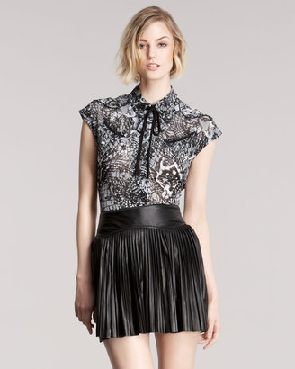 McQ by Alexander McQueen Pleated Leather Skirt