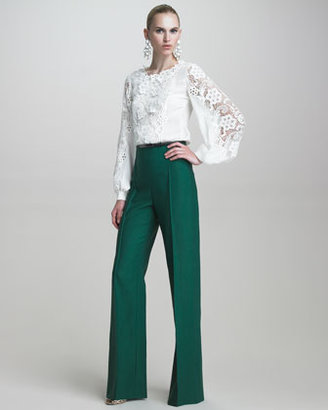 Oscar de la Renta Blouse with Embroidered Lace