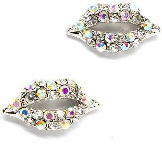 Kiss Me Lips - Lady Gaga Silver Crystal Lips Earrings