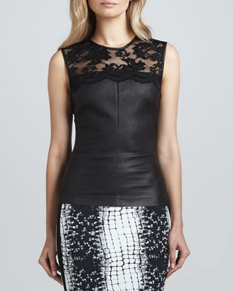 Robert Rodriguez Stretch Leather & Lace Top