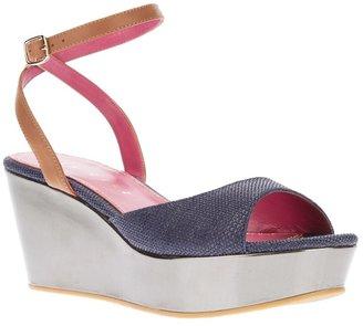 Lola Cruz bi-colour wedge sandal