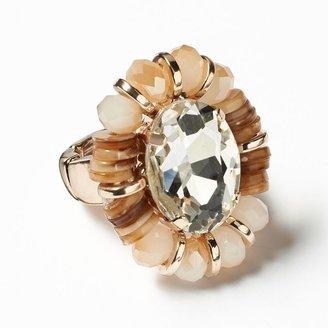Vera Wang Simply vera gold tone simulated crystal & bead stretch ring