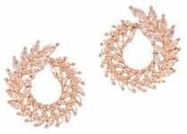 Cezanne Rose Goldtone Crystal Hoop Earrings