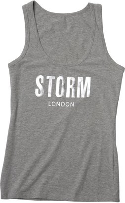 Storm Womens Ladies Marl Vest Top with Foil Print Grey