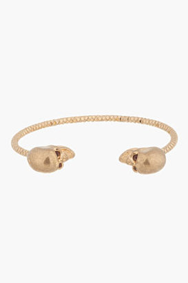 Alexander McQueen Old Gold Faceted Twin Skull Bangle