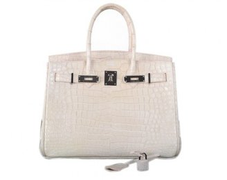 Hermes very good (VG 30cm Blanc Cassie White Crocodile Porosus Birkin Bag