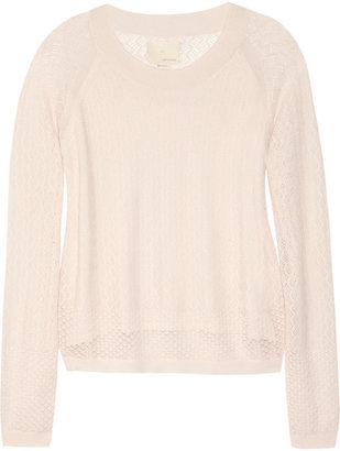 Band Of Outsiders Pointelle-knit cotton-blend sweater