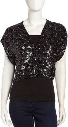 Alice + Olivia Shea Cropped Sequined Jacket, Black