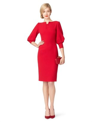 Oscar de la Renta 3/4 Sleeve V-Neck Slim Dress