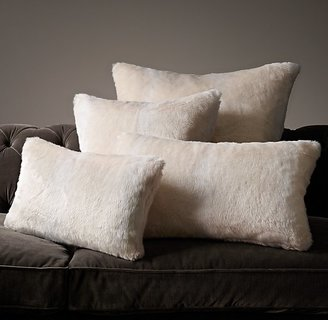Restoration Hardware Luxe Faux Fur Pillow Cover - Arctic Fox