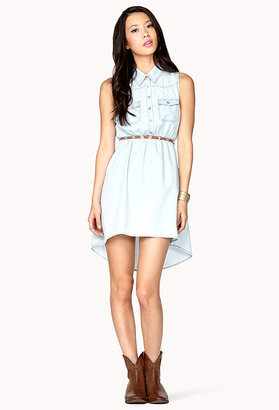 Forever 21 High-Low Denim Shirt Dress
