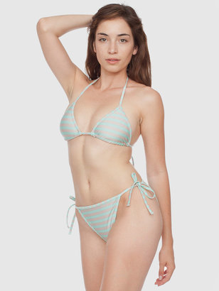 American Apparel Stripe Print Nylon Tricot Side-Tie Bikini Bottom